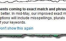 Keyword match types change notice