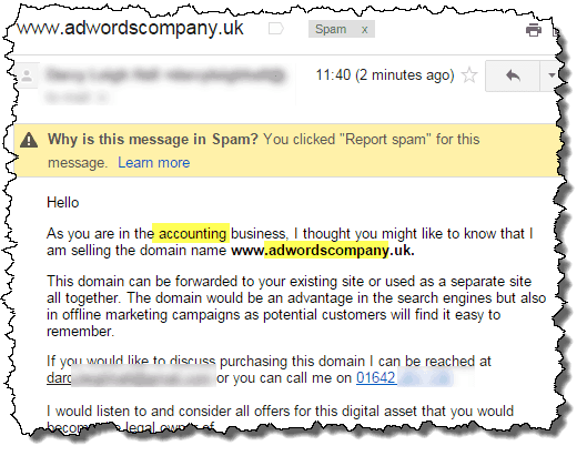 domain-selling-spam email